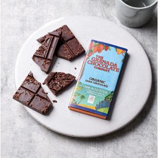 Grenada Chocolate Company 60% Organic Chocolate with Roasted Cocoa Nibs, 85g